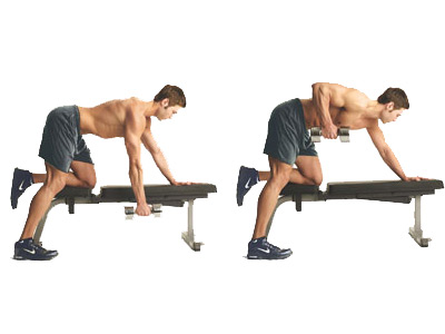 single-arm bent over row and unilateral leg movements