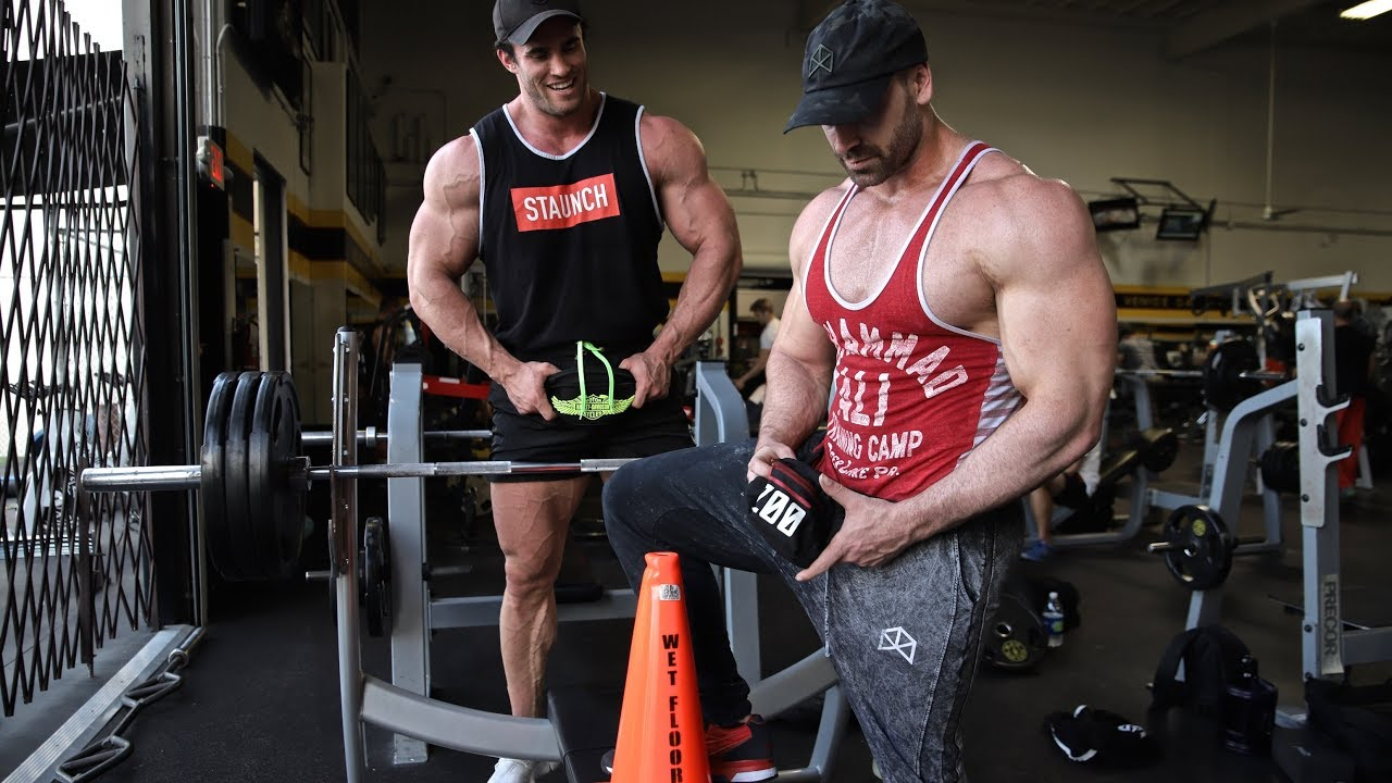 62edfaa99892c WATCH  Calum Von Moger And Bradley Martyn Train Back And Chest At Gold s Gym