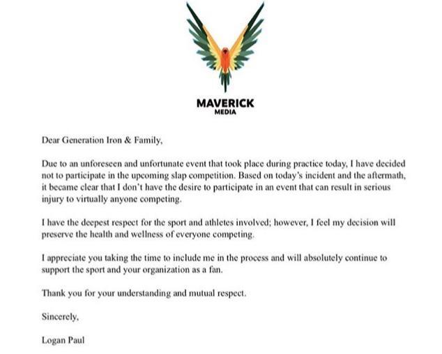 Logan Paul Quits Slap Contest Letter