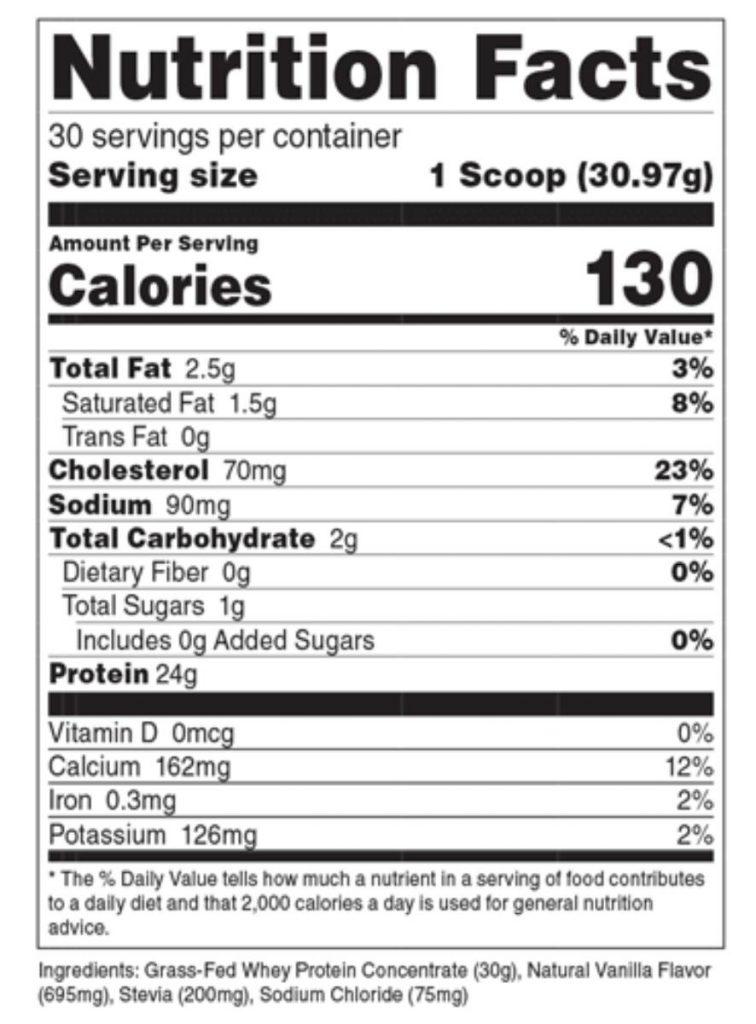 Transparent Labs Nutrition Label