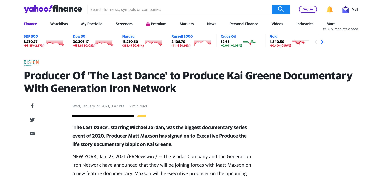 Kai Greene documentary Yahoo
