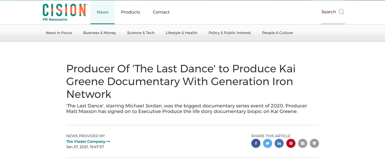 Kai Greene documentary Cision