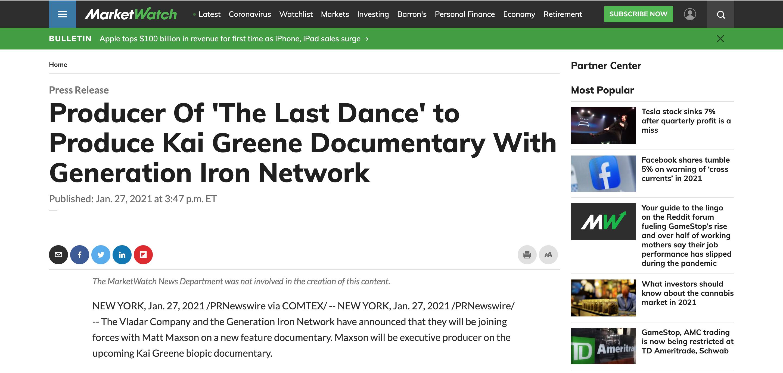 Kai Grenee documentary Marketwatch
