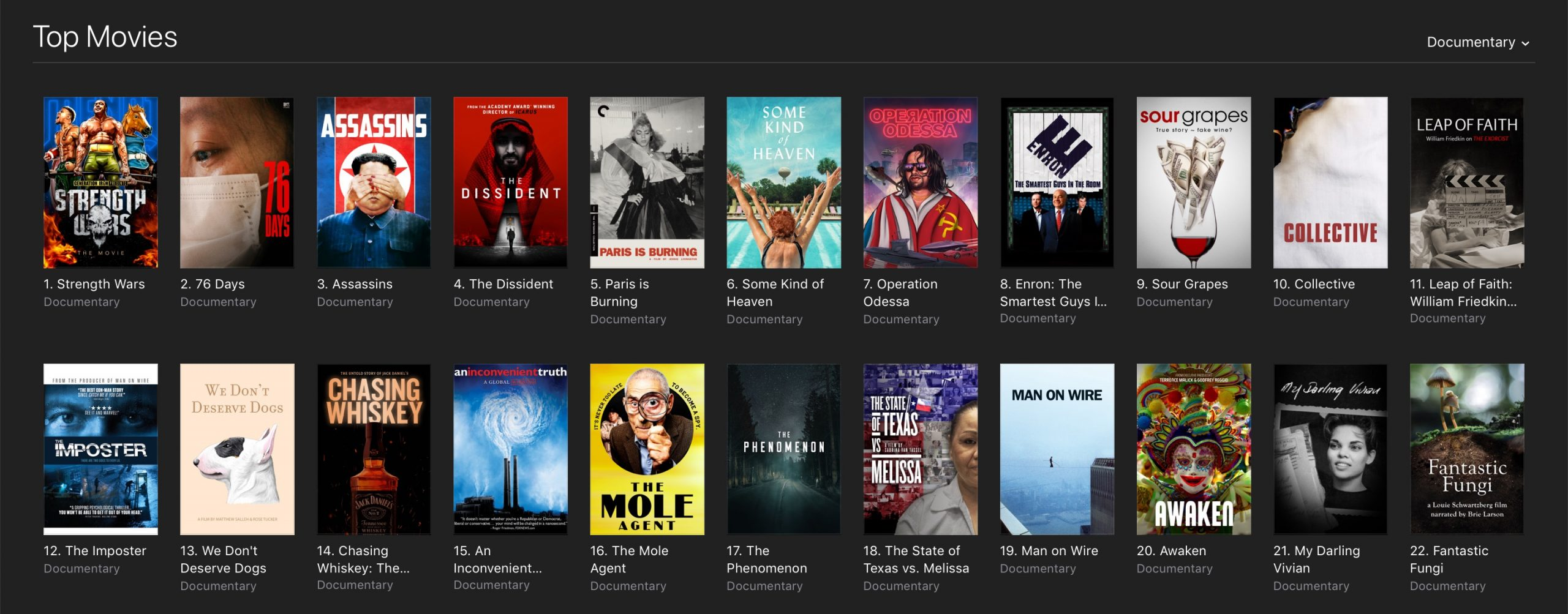 Strength Wars iTunes Number One Documentary