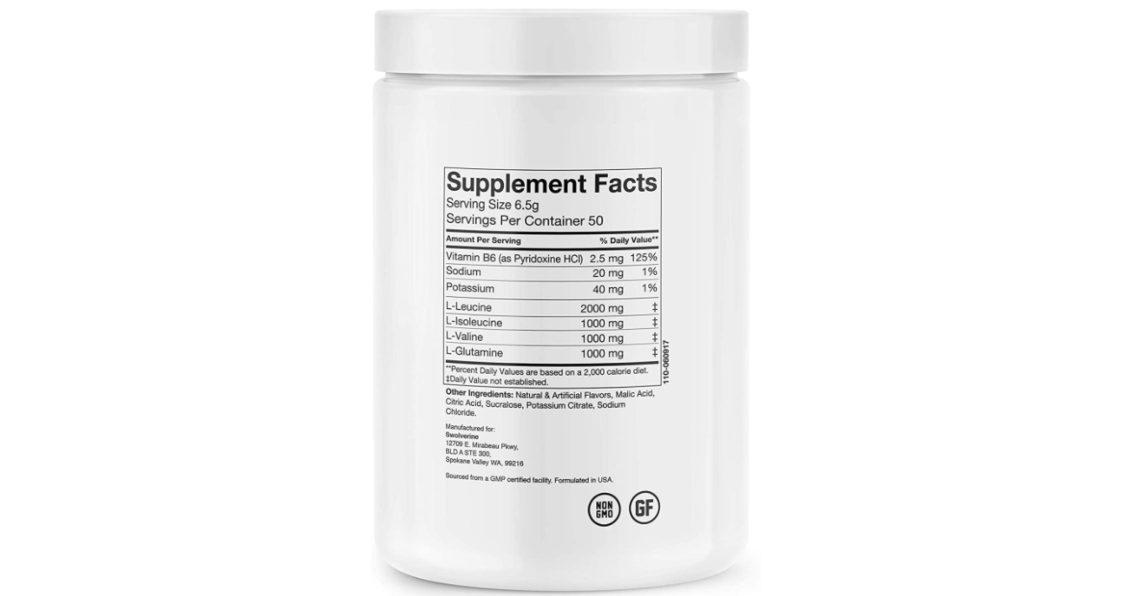 Swolverine BCAA Ingredients